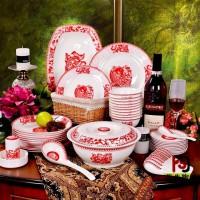 骨瓷荷花陶瓷餐具厂家直销,青花陶瓷餐具批发